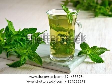 Hot herbal mint tea drink in glass mug Stock photo © Illia