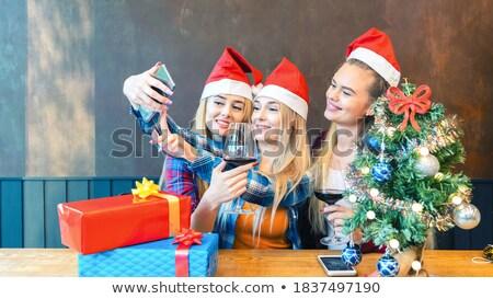 happy woman in santa hat with chrismas gift Stock photo © dolgachov