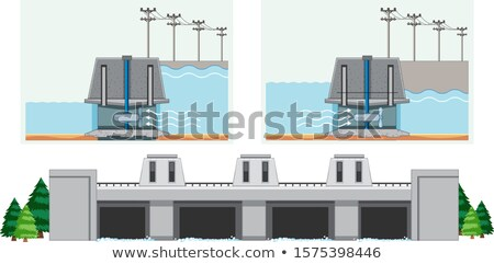 Diagram showing how water in dam works Stock photo © bluering