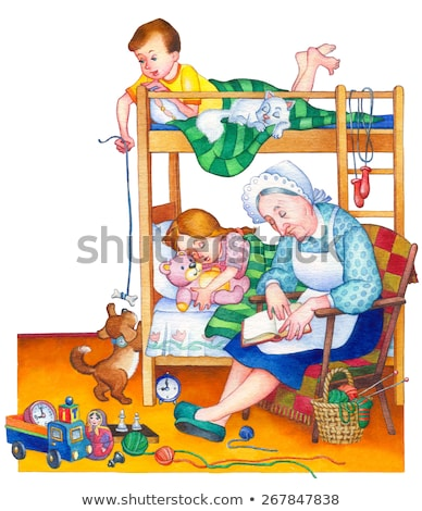 Scene with boy and girl playing in the room Stock photo © bluering
