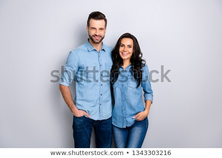 Kettő derűs fiatal férfiak visel lezser ruházat Stock fotó © deandrobot