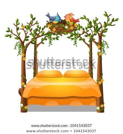 かわいい オレンジ 色 ベッド 装飾 フォーム ストックフォト © Lady-Luck