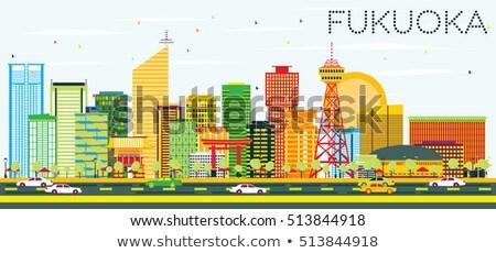 Abstract Fukuoka Skyline with Color Landmarks. Stock photo © ShustrikS