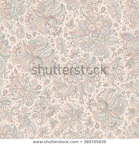 Paisley indian purple pink seamless vector pattern. Stock photo © yopixart