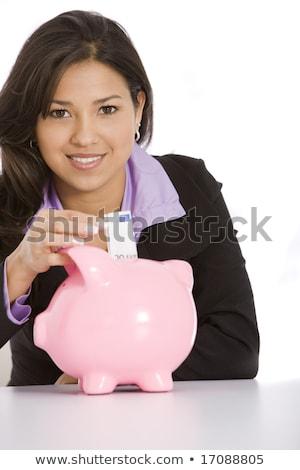 mooie · vrouw · geld · spaarvarken · witte · business · vrouw - stockfoto © Rob_Stark