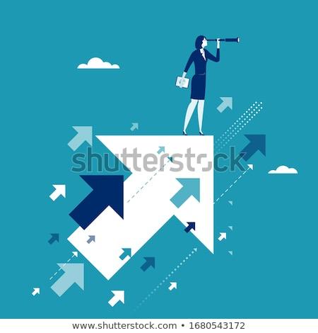деловая · женщина · край · женщину · счастливым · пространстве · молодые - Сток-фото © photography33