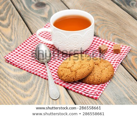 A Cup Of Tea With Oatmeal Cookies Foto d'archivio © Es75