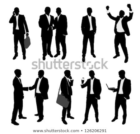 Iş adamları telefon ayakta siluet eps 10 Stok fotoğraf © Istanbul2009