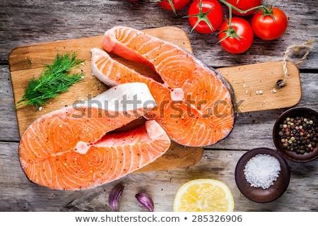 Raw Salmon Steak with Dill Stock photo © bigandt