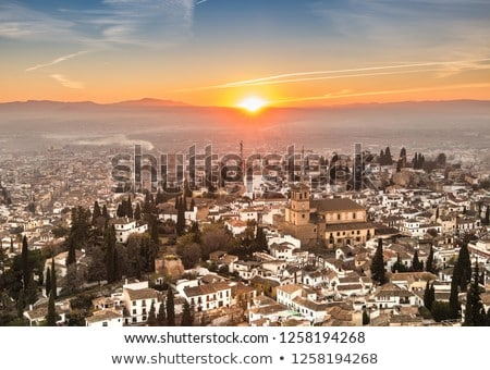 Alhambra Castle Morning Sky Granada Cityscape Andalusia Spain Stock photo © billperry