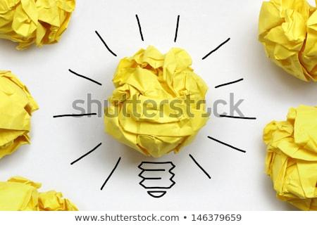 concept crumpled paper light bulb metaphor for good idea Stock photo © kiddaikiddee