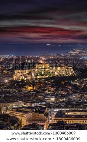 Acrópole · Atenas · Grécia · noite · edifício · pôr · do · sol - foto stock © andreykr