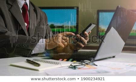 férfi · dolgozik · számítógép · laptop · pénzügy · jelentés - stock fotó © Customdesigner