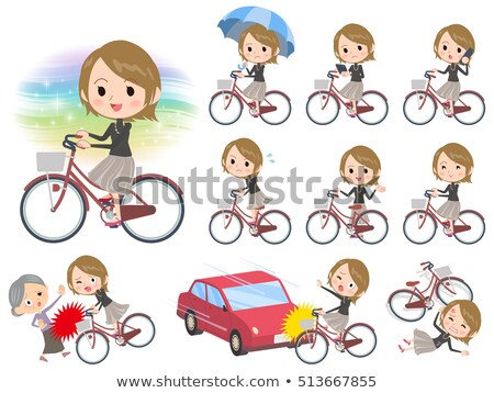 Short hair black high necked women ride on city bicycle stock photo © toyotoyo