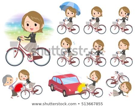 Rövid haj fekete magas nők város bicikli Stock fotó © toyotoyo