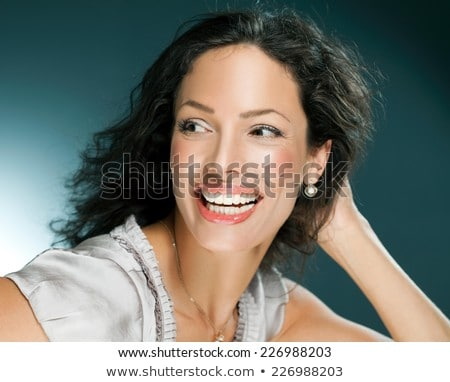Piękna kobieta twarz kolczyk piękna ludzi Zdjęcia stock © dolgachov