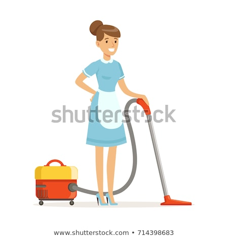 Young woman with a vacuum cleaner vector illustration. Stock photo © RAStudio