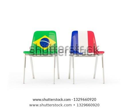 Deux chaises drapeaux France Brésil isolé Photo stock © MikhailMishchenko