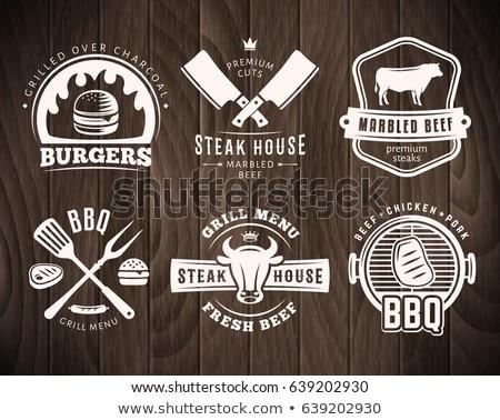 Klasszikus barbecue szett címkék jelvények terv Stock fotó © netkov1