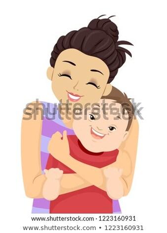 Dziecko chłopca w dół syndrom siostra przytulić Zdjęcia stock © lenm