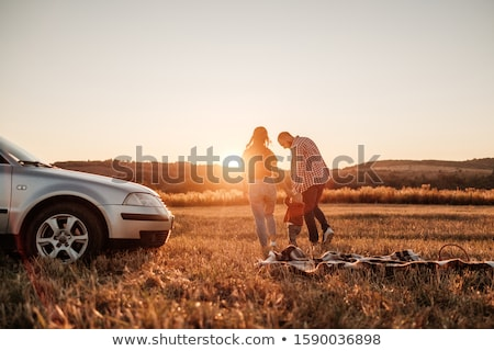 summer portrait of mother and son outside on a road Stock photo © Lopolo