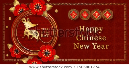 Chinese new year rat 2020 3d flower abstract card Stock photo © cienpies