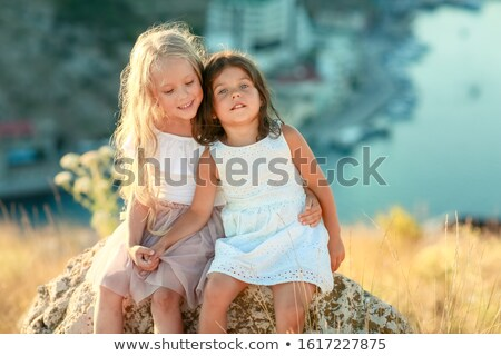 Dwa dziewcząt rok starych słoneczny lata Zdjęcia stock © ElenaBatkova