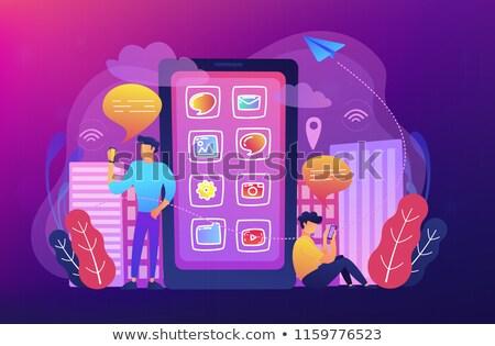 Social media and news tips, smart city concept illustration. Stock photo © RAStudio