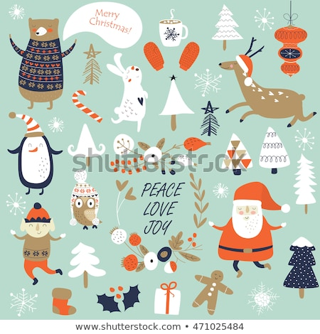 Merry Christmas Greeting, Elf with Sack in Forest Stock photo © robuart