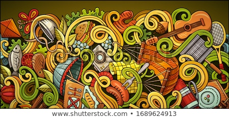 Spring hand drawn doodle banner. Cartoon detailed flyer. Stock photo © balabolka