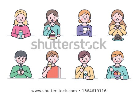 People Drinking Coffee and Eating Dessert Vector Stock photo © robuart