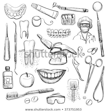 Zahnpflege Set unterschiedlich Hand gezeichnet Symbole schwarz Stock foto © ShustrikS