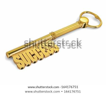 Key to success made of gold isolated Stock photo © dmitry_rukhlenko