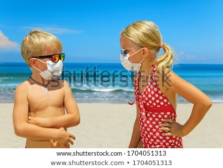 человека хирургические маски пляж кавказский Сток-фото © nito