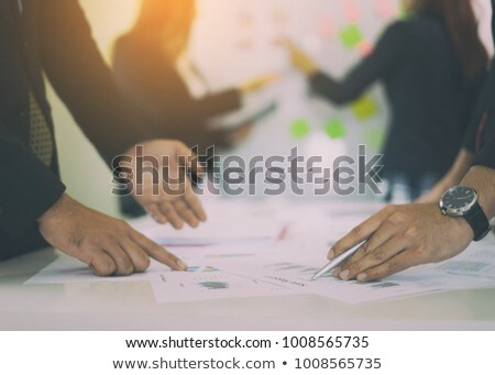 business people planning startup project placing sticky notes se Stock photo © snowing