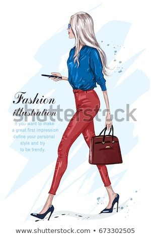 modieus · elegante · dame · poseren · jonge · mooie · vrouw - stockfoto © NeonShot
