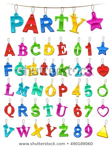 Teljes ünnepi ábécé számok szett címkék Stock fotó © adrian_n