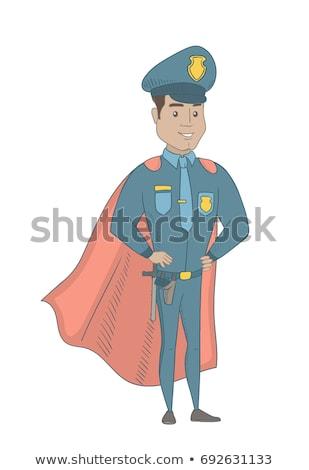 policial · herói · ilustração · bonito · policial · em · pé - foto stock © rastudio