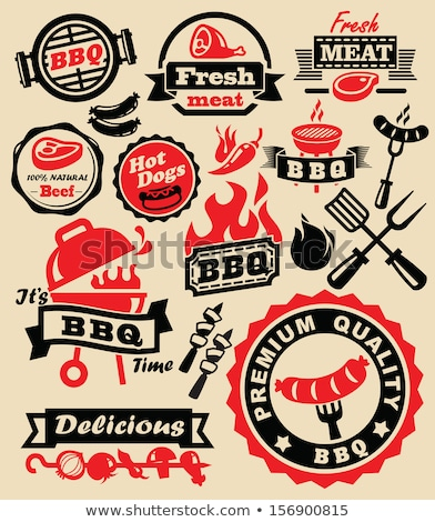 Hot BBQ Barbecue Tasty Set Vector Illustration Stock photo © robuart
