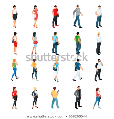 bearded man   modern vector isometric character set stock photo © decorwithme