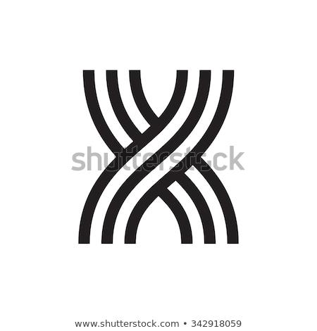 Linear geometric outline alphabet Letter X, Simple Logo Design, Blue graphic element for typography  Stock photo © kyryloff