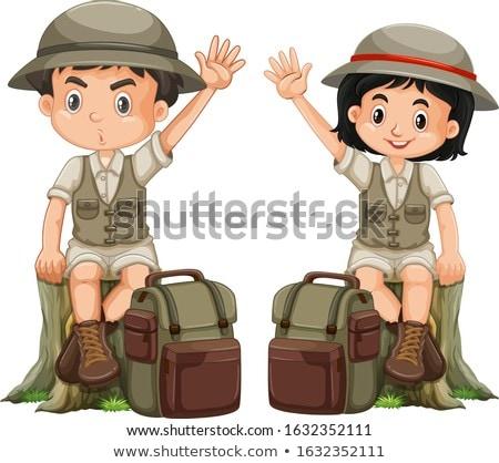 Boy in park ranger uniform on white background Stock photo © bluering