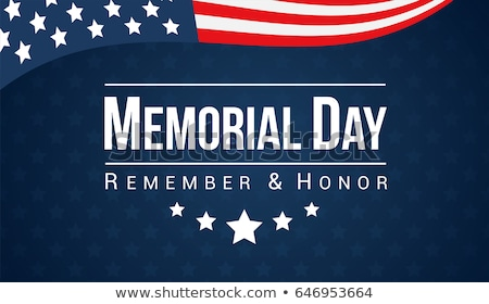 Memorial Day of the USA Vector Design Template with American Flag in 3d Letter on Light Star Pattern Stock photo © articular