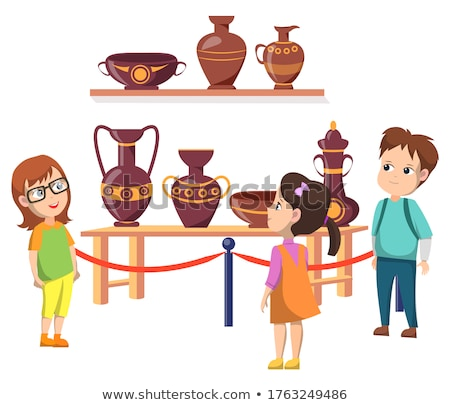 Kids in Historic Museum with Crockery Exhibition Stock photo © robuart