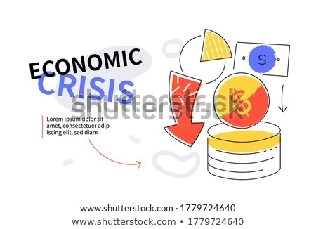 Economic crisis - colorful flat design style web banner Stock photo © Decorwithme