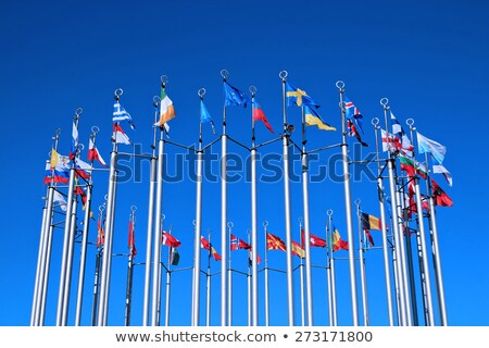 Flags of European states against blue sky Stock photo © brebca
