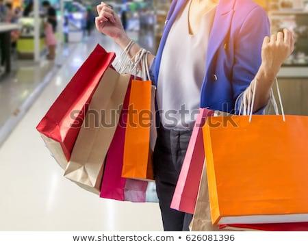 Stock fotó: Nő · magasra · tart · bevásárlótáskák · élet · női · mosolyog