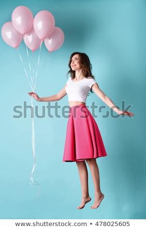 Foto stock: Menina · feliz · voador · balão · diversão · cor · jovem