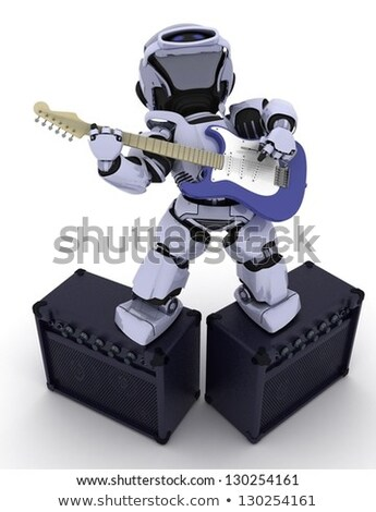 The Playing Electric Guitar In Robot 3d Robot Character Stockfoto © Kjpargeter