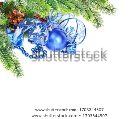 Christmas Decorations With Blue Balls And Silver Beads Stok fotoğraf © Epitavi
